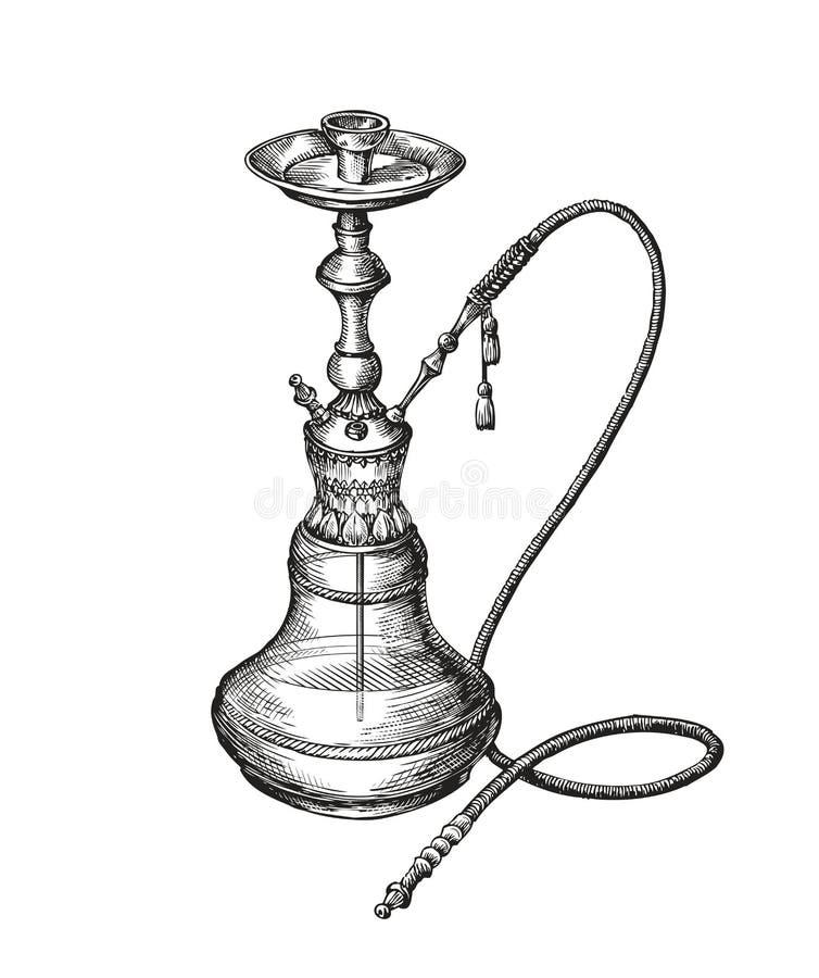 Von Hand gezeichnete Weinlesehuka Vektorskizze shisha lizenzfreie abbildung