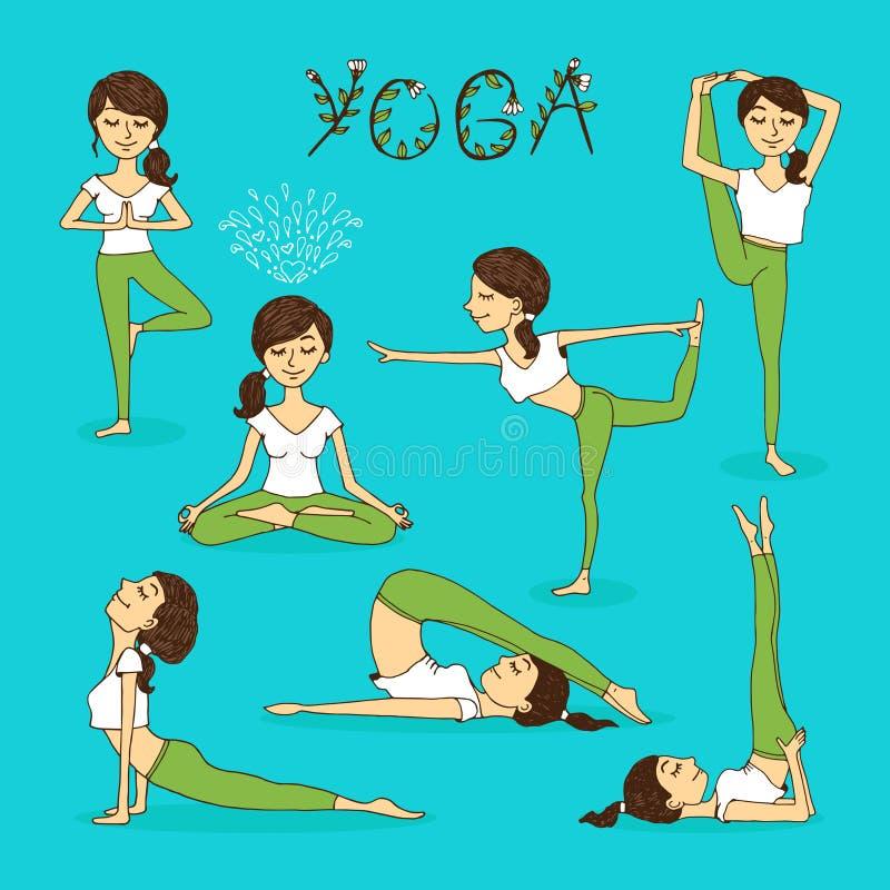 Von Hand gezeichnete Yogahaltungen des Vektors lizenzfreie abbildung