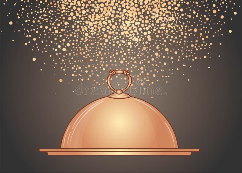 Von Hand gezeichneter goldener Behälter für heiße Teller Illustration für Designmenürestaurant oder -café stock abbildung