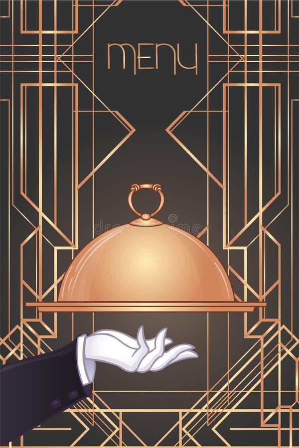 Von Hand gezeichneter Kellner- \ 's-Handholdingbehälter für heiße Teller Illustration für Designmenürestaurant oder -café vektor abbildung