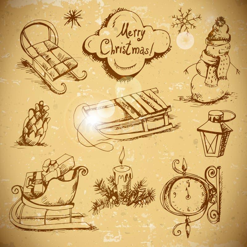 Von Hand gezeichneter neues Jahr- und Weihnachtssatz stock abbildung