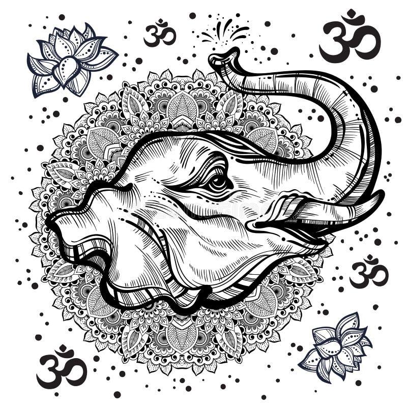 Von Hand gezeichneter schöner Elefantkopf mit indischer Mandala, rundes Verzierungsmuster Hagh-ausführliche Vektorillustration stock abbildung