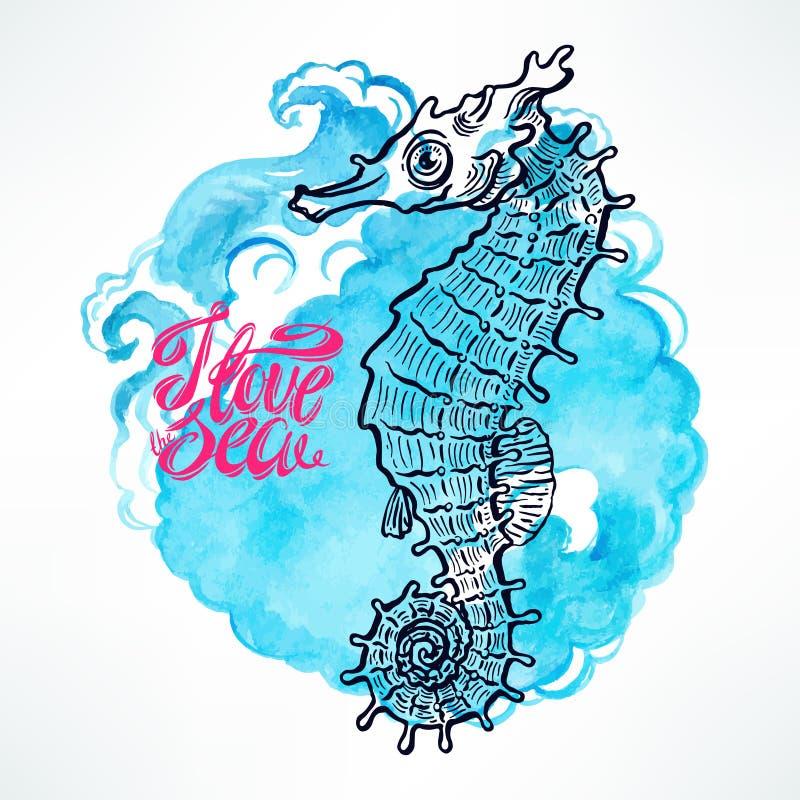 Von Hand gezeichneter schöner Seahorse vektor abbildung