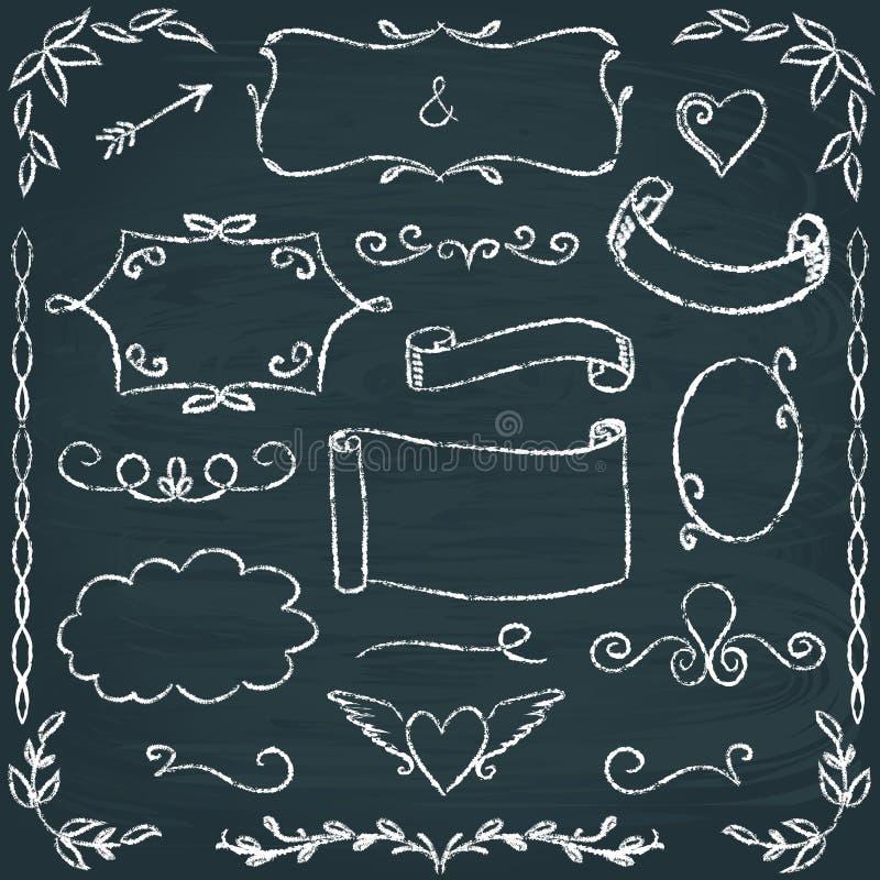 Von Hand gezeichneter Tafelrahmen- und -elementsatz vektor abbildung