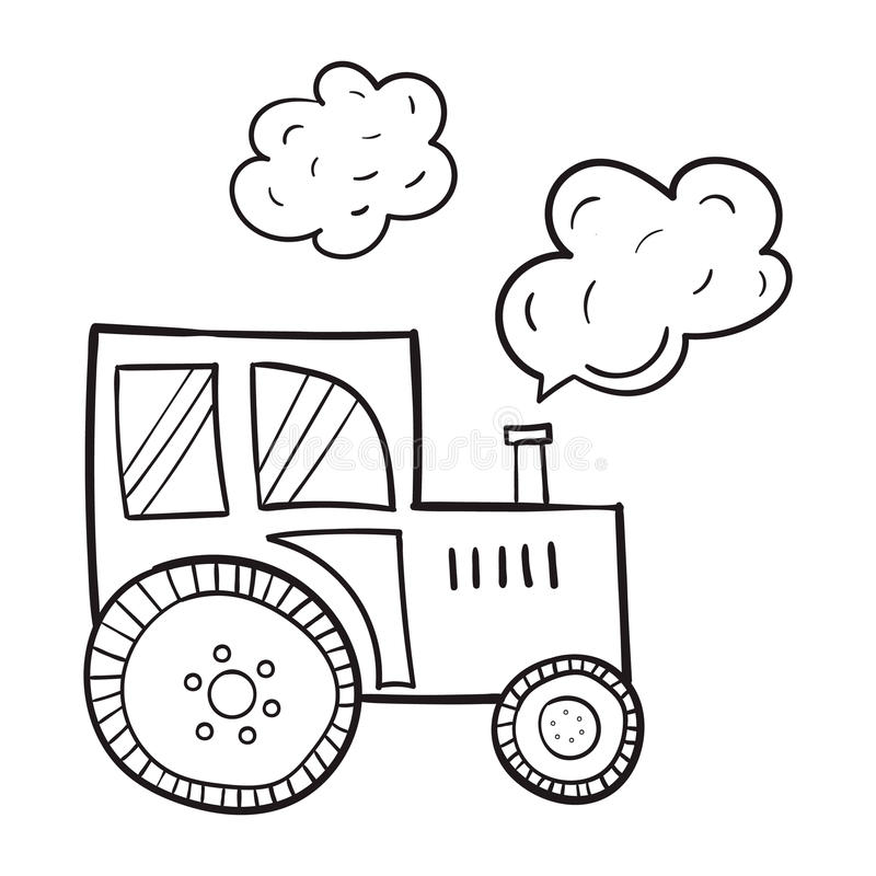 Von Hand gezeichneter Traktor, in einer Karikaturart, die ursprünglichen Themen der Landwirtschaft, schwarze Kontur auf weißem Hi lizenzfreie stockfotografie