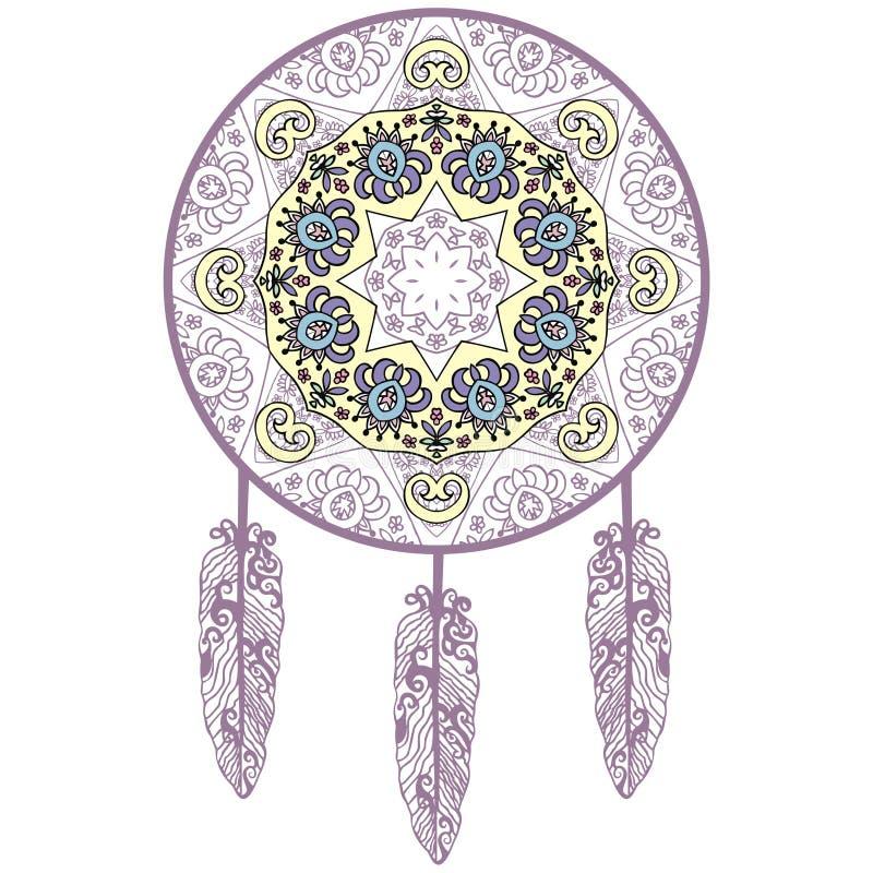 Von Hand gezeichneter Traumfänger, Schutz, Indianer stock abbildung