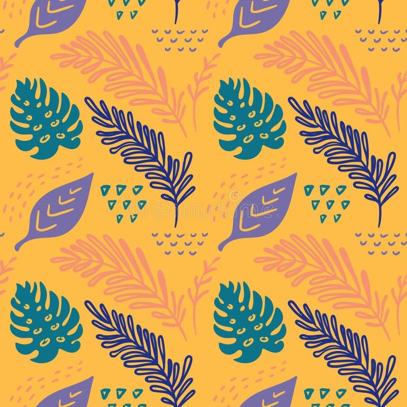Von Hand gezeichnetes abstraktes Muster des nahtlosen Vektors mit tropischen Blättern in der skandinavischen Art vektor abbildung