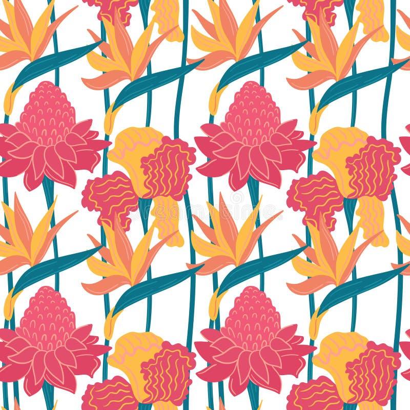 Von Hand gezeichnetes abstraktes Muster des nahtlosen Vektors mit tropischen Blättern und Blumen in der skandinavischen Art lizenzfreie abbildung