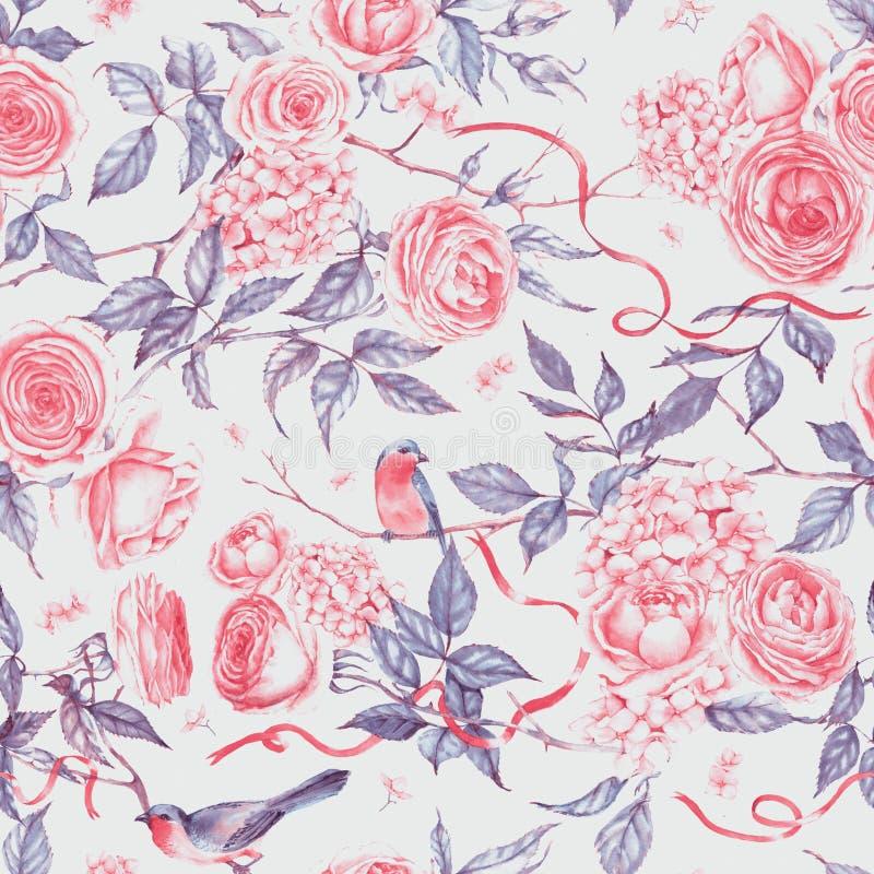 Von Hand gezeichnetes Aquarell wiederholte Muster mit rosa Rosen, Hortensie, Blätter, Niederlassung, Vogel lizenzfreie abbildung