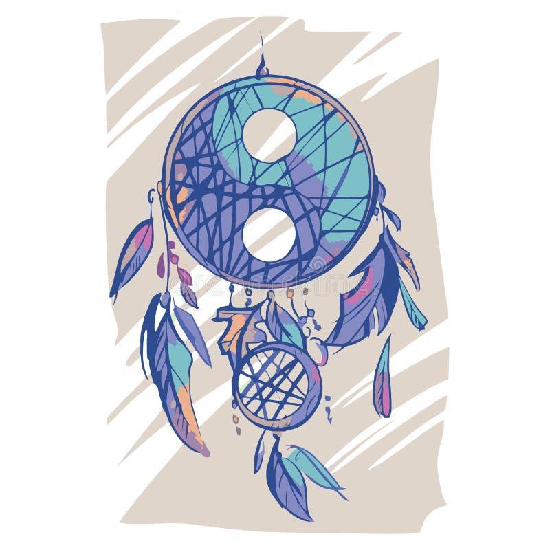 Von Hand gezeichnetes dreamcatcher mit Federn und Yin Yang-Symbol Ethnische Illustration, traditionelles Symbol der Indianer bunt stockbilder
