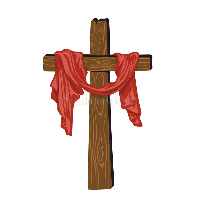 Von Hand gezeichnetes Kreuz von Jesus mit Drapierung stock abbildung