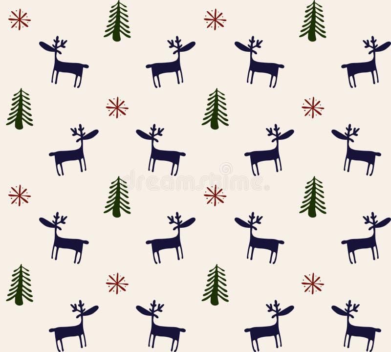 Von Hand gezeichnetes nahtloses Muster mit Rotwild, Kiefern und Schneeflocken lizenzfreie stockfotografie