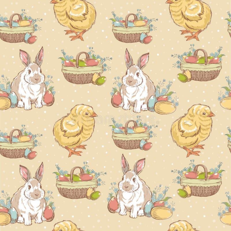 Von Hand gezeichnetes nahtloses Muster Ostern-Weinlese lizenzfreie abbildung