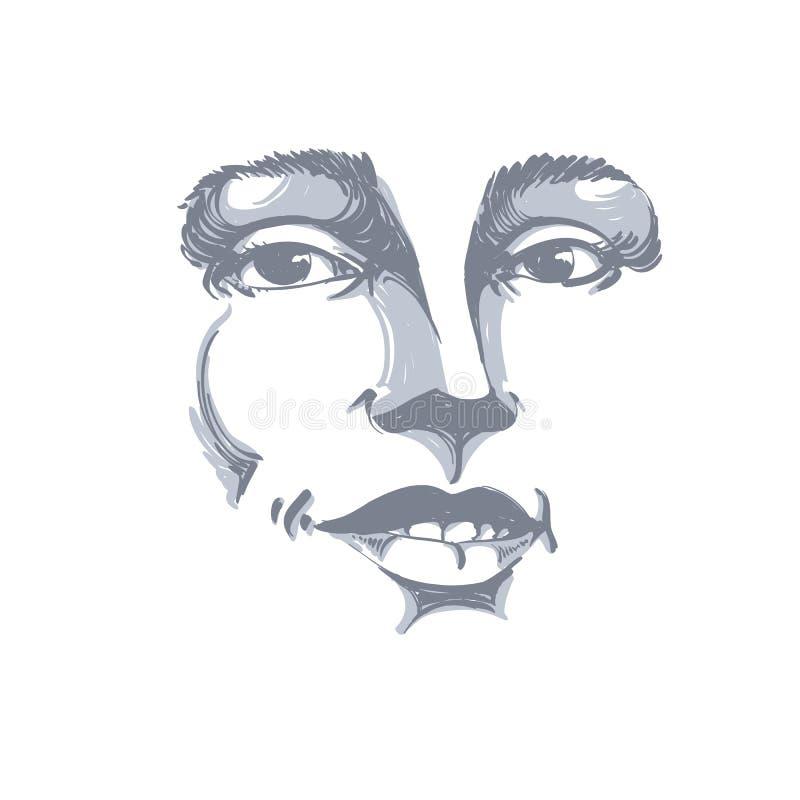 Von Hand gezeichnetes Porträt der Flirtfrau der Weißhaut, Gesichtsgefühle lizenzfreie abbildung