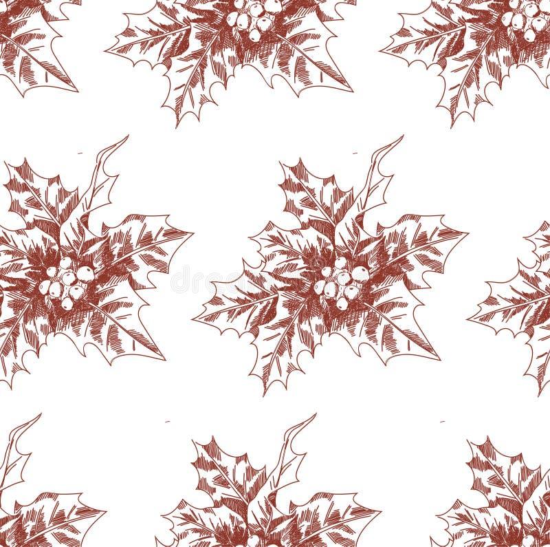 Von Hand gezeichnetes Weihnachtsnahtloses Muster mit Stechpalmenskizze Vektorartillustration für neues Jahr vektor abbildung