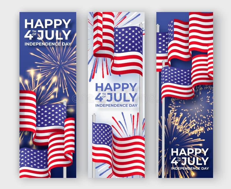 von Juli-Hintergrund Drei vertikale Fahnen mit dem Wellenartig bewegen von amerikanischen Staatsflaggen und von Feuerwerken 4. vo lizenzfreie abbildung