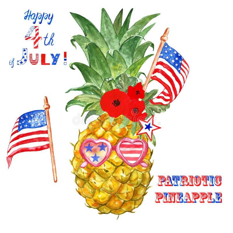 4. von Juli-Karte mit patriotischer Aquarellananas und US-Flaggen, lokalisiert lizenzfreie stockfotos