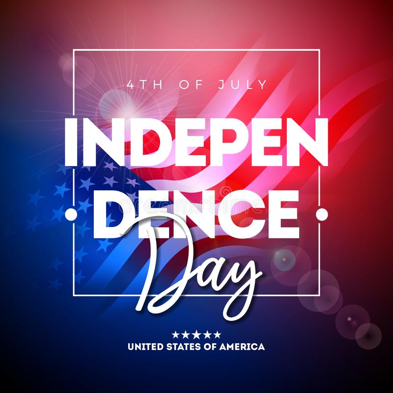4. von Juli-Unabhängigkeitstag der USA-Vektor-Illustration mit amerikanischer Flagge und des Typografie-Buchstaben auf glänzendem stock abbildung