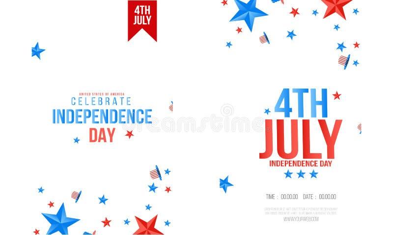 4. von Juli-Unabh?ngigkeitstag der USA-Vektor-Illustration Viertel des amerikanischen nationalen Feier-Entwurfs Julis mit Sternen lizenzfreie abbildung