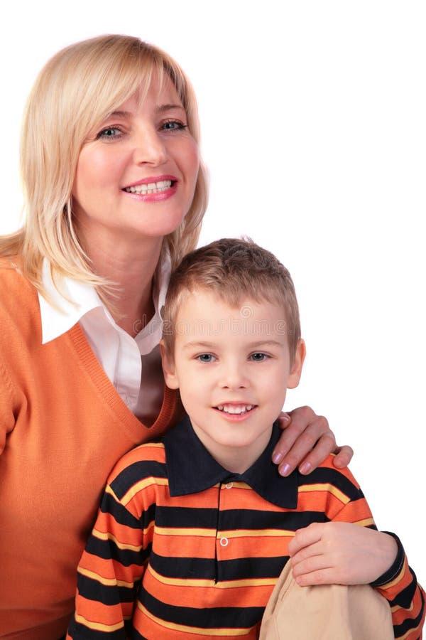 Von mittlerem Alter Frau mit Jungen lizenzfreie stockbilder