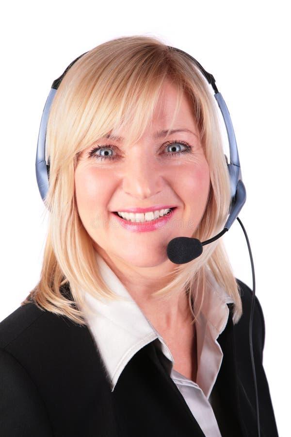 Von mittlerem Alter Frau mit Kopfhörer 3 lizenzfreies stockfoto