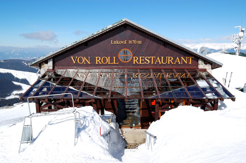Von Roll restaurant in Jasna Lage Tatras stock foto's