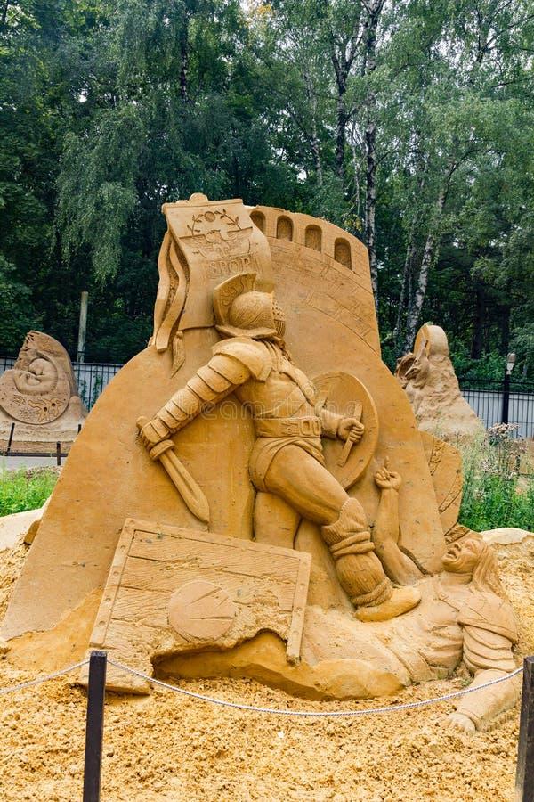 Von Zeitunvordenklichem Ausstellung von Sandskulpturen lizenzfreies stockbild