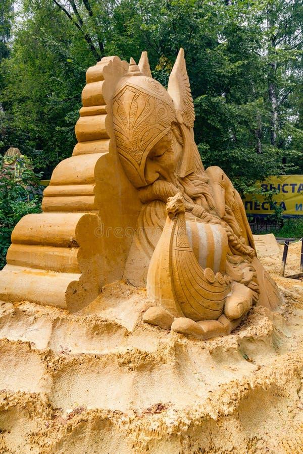 Von Zeitunvordenklichem Ausstellung von Sandskulpturen stockbilder