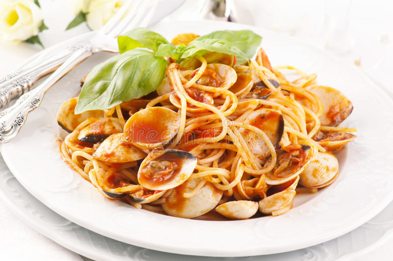 Vongole degli spaghetti fotografie stock libere da diritti