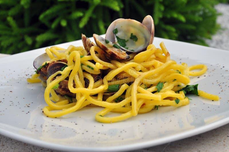 Vongole del alle degli spaghetti, pasta con le vongole immagine stock