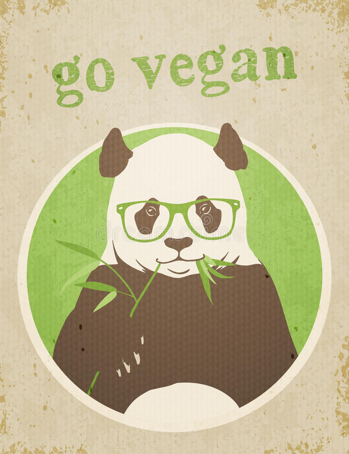 Vont le Vegan Panda Bear illustration stock