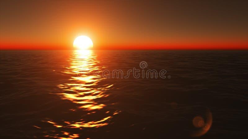 Voo acima da superfície calma do oceano na noite calma do verão no por do sol dourado e alaranjado bonito imagens de stock