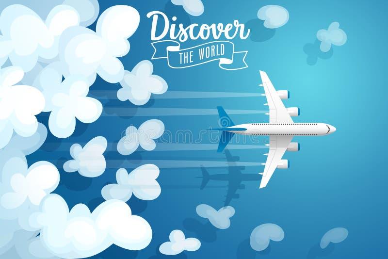 Voo acima das nuvens, cartaz do avião comercial do curso ilustração do vetor