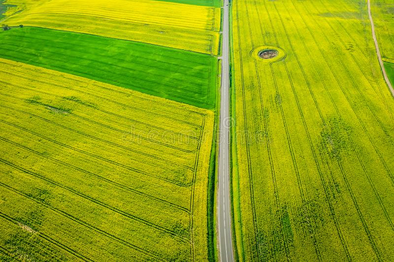 Voo acima dos campos verdes e amarelos da violação no dia ensolarado imagens de stock royalty free