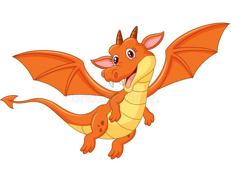 Voo alaranjado bonito do dragão dos desenhos animados isolado no fundo branco ilustração royalty free