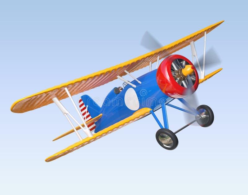 Voo amarelo e azul do biplano no céu fotos de stock royalty free