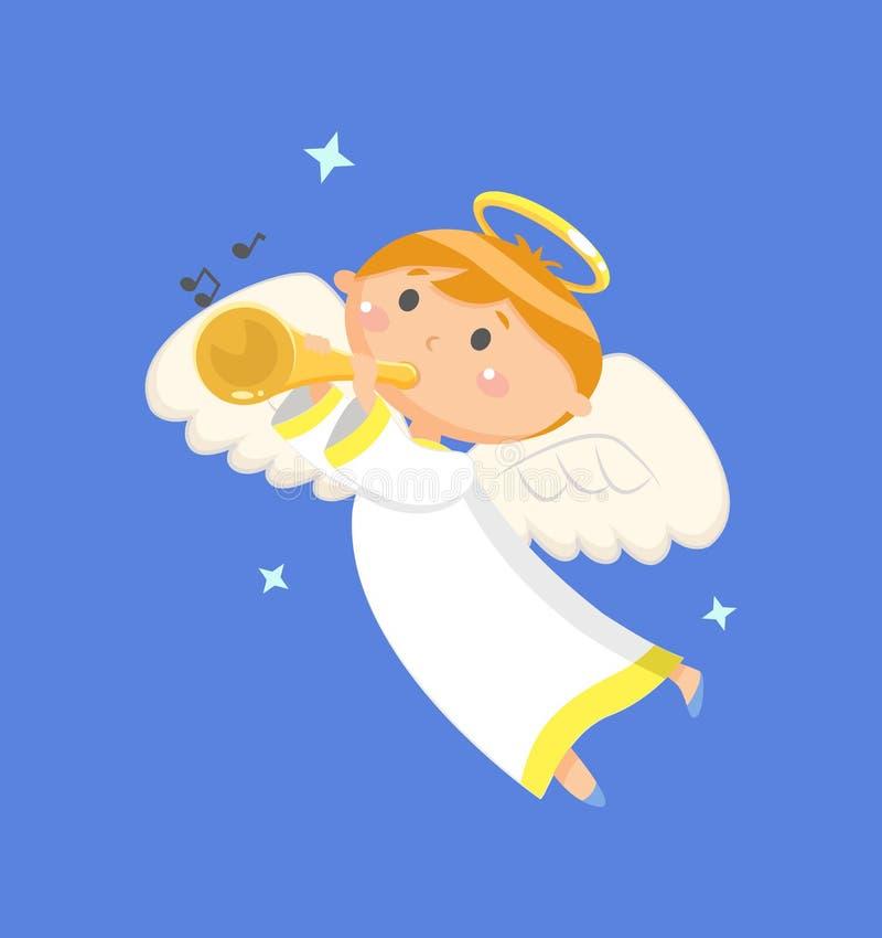 Voo Angel Playing Trumpet, soando o vetor do menino ilustração stock