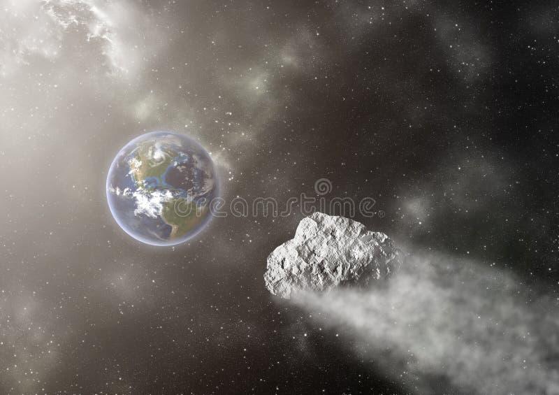 Voo asteroide para a terra ilustração royalty free