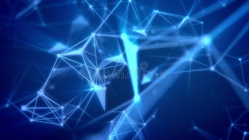 Voo através da rede abstrata do espaço ilustração royalty free