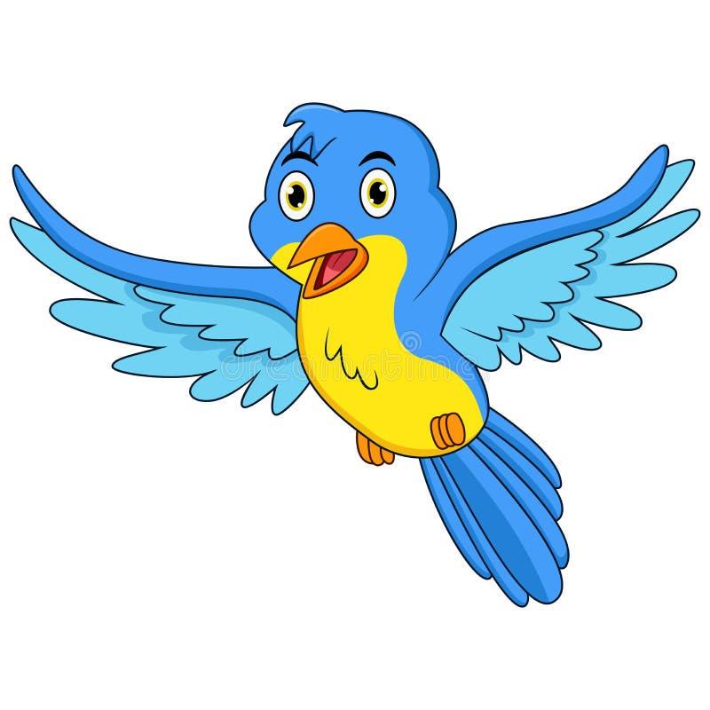 Voo azul feliz dos desenhos animados do p?ssaro ilustração royalty free
