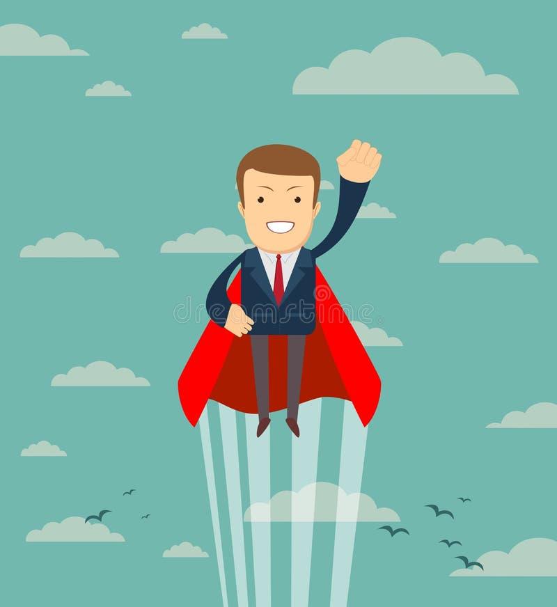 Voo bem sucedido super do homem de negócios do super-herói no céu ilustração do vetor