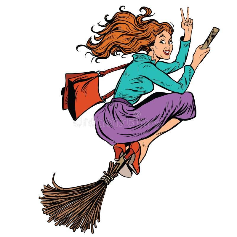Voo bonito da bruxa da mulher em uma vassoura ilustração do vetor