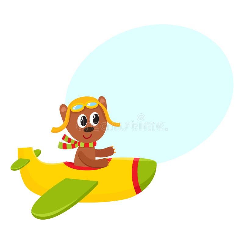 Voo bonito do caráter do piloto do urso de peluche no avião, ilustração dos desenhos animados ilustração do vetor
