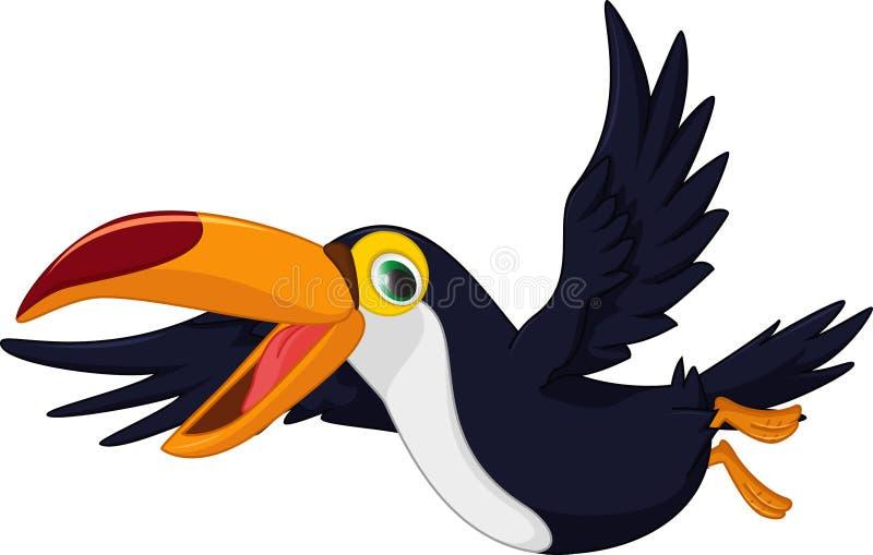 Voo bonito do pássaro do tucano dos desenhos animados ilustração do vetor