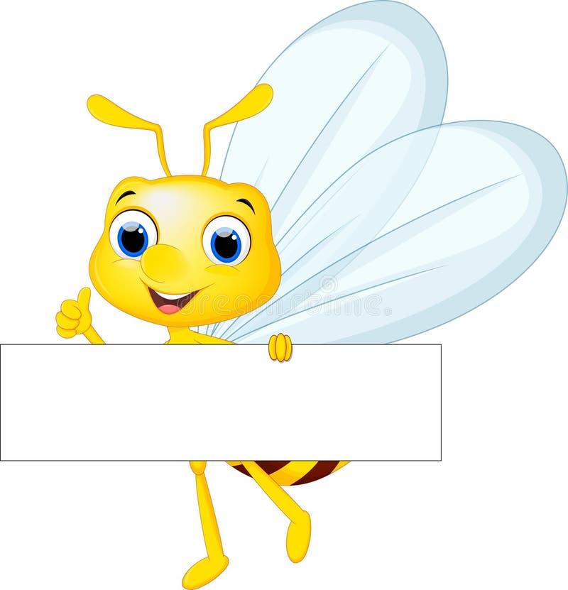 Voo bonito dos desenhos animados da abelha ao levar floresce ilustração royalty free