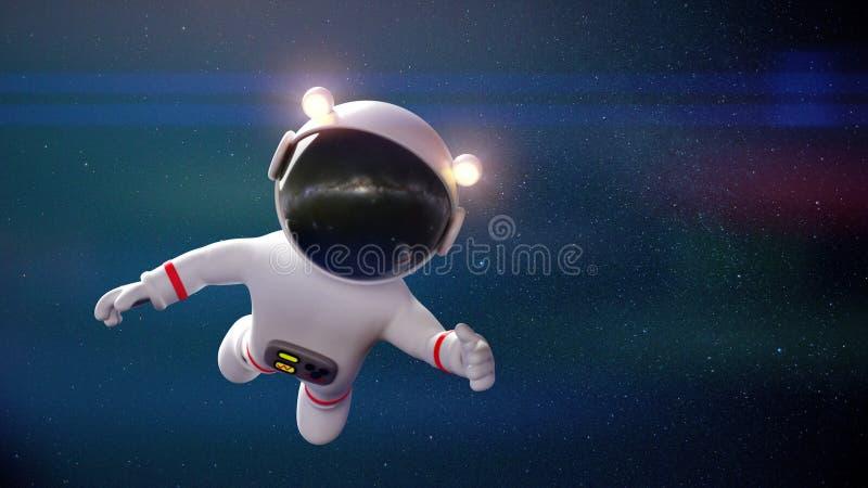 Voo branco bonito do astronauta dos desenhos animados no espaço da gravidade zero na frente da rendição das estrelas 3d ilustração stock