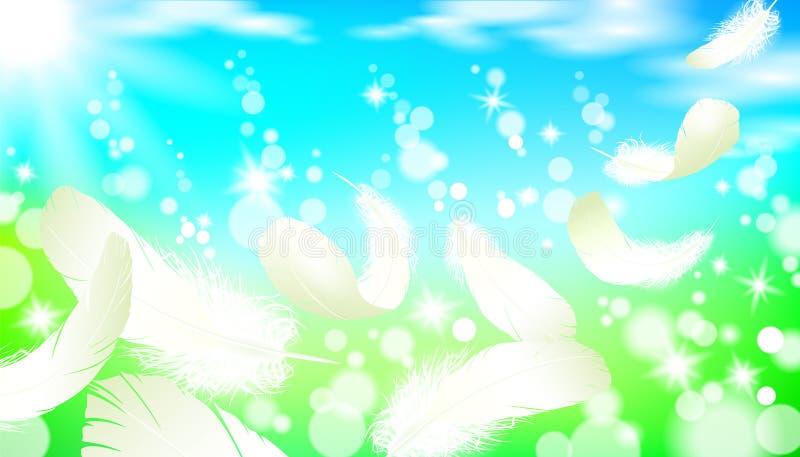 Voo branco da pena de pássaro da cisne do fundo ensolarado brilhante realístico da luz de céu do azul da grama verde da paisagem  ilustração stock
