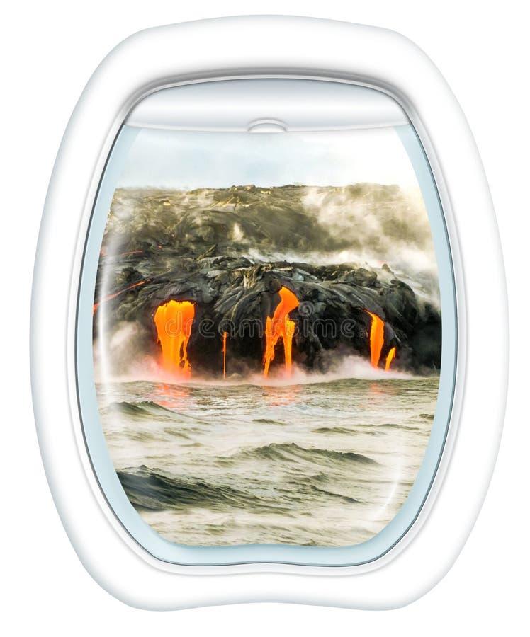 Voo cênico do vulcão de Kilauea foto de stock