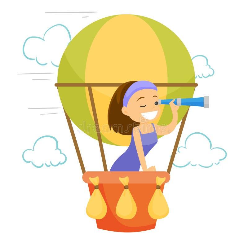 Voo caucasiano da mulher branca no balão de ar quente ilustração stock