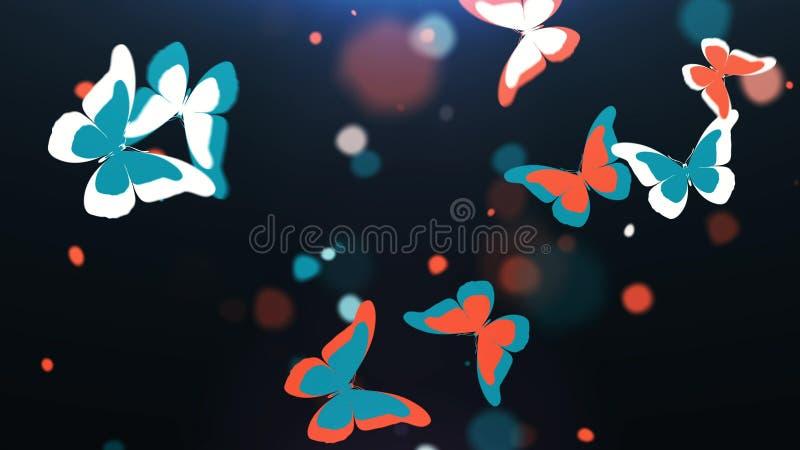 Voo colorido bonito do enxame das borboletas ilustração do vetor